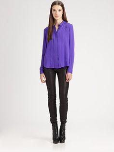 Beautiful Theory Purple Silk Blouse @Saks