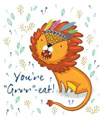You are great. Cute lion cartoon vector illustration vector art illustration
