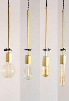 Brass Hanging Light Vintage Modern by thevintagevoguestory on Etsy