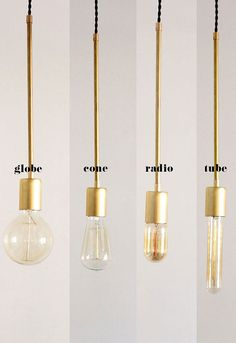 Brass Hanging Light Vintage Modern by thevintagevoguestory on Etsy