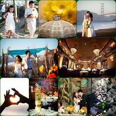 A pretty beach wedding with views of the Golden Gate Bridge. Tosca Productions. Root Photography.