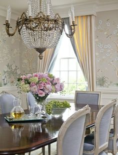 French Country Home : Photo - periwinkle fabric on chairs