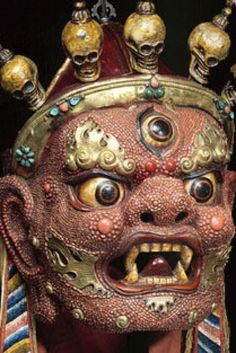 500 Years Of Hypnotic Masks Reveal Our Eternal Obsession With Disguise Buddha Buddhism, Tibetan Buddhism, Buddhist Art, Hindus, Buddhist Traditions, Tibetan Art, Demonology, Masks Art, Evil Spirits