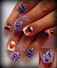 Mickey, Minnie, and Haunted Mansion Halloween Nails