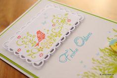 Osterkarte-Ostern-Karte-Easter-Card-Schmetterling-Frohe-Ostern-Osterwiese-Frühlingswiese-Wiese-Gras-Vogel-Stempel-Colorierung-mehrfarbig-Stanzteil-rot-grün-gelb-Küken-Frühling-Gruß-Klappkarte-Tag