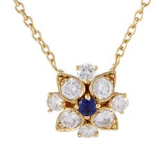 Van Cleef & Arpels 18K 0.90 Ct. Tw. Diamond & Sapphire Necklace ($4,399) ❤ liked on Polyvore featuring jewelry, necklaces, jewelry & watches, nocolor, 18k necklace, sapphire diamond pendant, sapphire pendant, chain pendant necklace and diamond pendant necklace