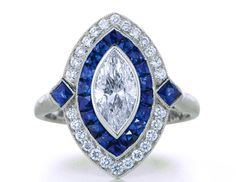 Engagement Ring - Marquise Diamond Art Deco Engagement ring with Blue Sapphire & Diamond Halo in 14K White gold - ES832WG