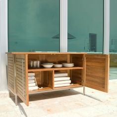 Vogue Teak And Stainless Steel Outdoor Patio Sideb