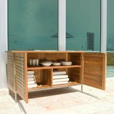 modernes garten sideboard aus holz mit rollen modus With französischer balkon mit teak sideboard garten