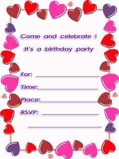 Free Printable Invitations Party Printables Kid Favors Birthday Heart Invitation Maker Cards