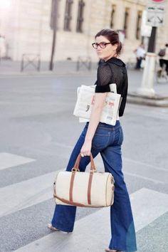 sheer polka dot blouse / flared denim / heels