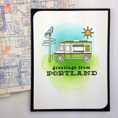 greetings from Portland | Handmade stamped card by Teri // terisplace.wordpress.com