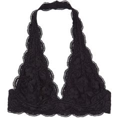 Pure Style Girlfriends Black Lace Plunge Halter Bralette ($14) ❤ liked on Polyvore featuring intimates, bras, bra, lingerie, underwear, halter top, lacy lingerie, bralette lingerie, no wire bra and bralette bras