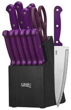Ginsu 3891 Essential Series 14-Piece Cutlery Set with Black Block, Purple by Douglas Quikut #lila #purple #kitchen