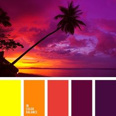Color combination, color pallets, color palettes, color scheme, color inspiration. Beautiful shades of perfect evening. Pink, purple, yellow and other colors of sunset. #Color Palettes