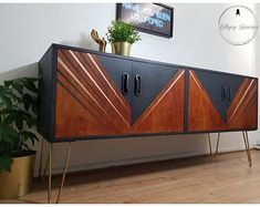 SOLD SOLD SOLD Mid century modern sideboard / drinks cabinet / cocktail cabinet in dark grey with geometric design Mid Century Bar Cabinet, Mid Century Modern Sideboard, Retro Sideboard, Painted Sideboard, Mid Century Furniture, Credenza, Diy Furniture Renovation, Mod Furniture, Recycled Furniture