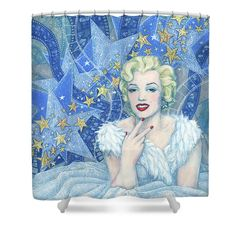 """Marilyn Monroe Shower Curtain Portrait from the """"Old Hollywood"""" series. Marilyn Monroe in white tulle dress and feather boa, a lot of little and big stars and celluloid films as a background. Blue, white, silver and light yellow colors. Artwork was inspired by Andy Warhol's portraits and Edmund Greene's photograph by Marilyn. Celebrity art, fine art portrait, acrylic painting. © Clipso-Callipso / Julia Khoroshikh #Marilyn, #Monroe, #hollywood, #contemporary, #art, #celebrity, #portrait"""