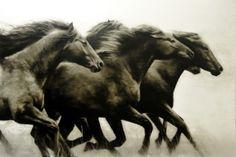 """Ken Peloke One One Thousand 2014 64"""" x 96"""" #pelokeart #horses #art"""