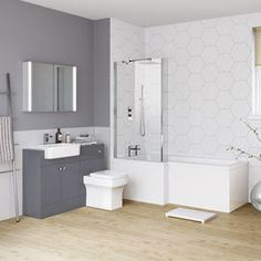 See why we're specialists in bathroom suites and beautiful bathroom designs! Designer, modern & traditional bathroom suites for all shapes, sizes & budgets. Combination Vanity Units, Traditional Bathroom Suites, Shower Suites, Bathrooms Online, Toilet Suites, Bathroom Plans, Bathroom Ideas, Complete Bathrooms