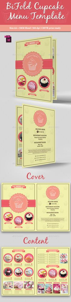 BiFold Cupcake Menu Template #design Buy Now: http://graphicriver.net/item/bifold-cupcake-menu-template-vol-2/12818386?ref=ksioks