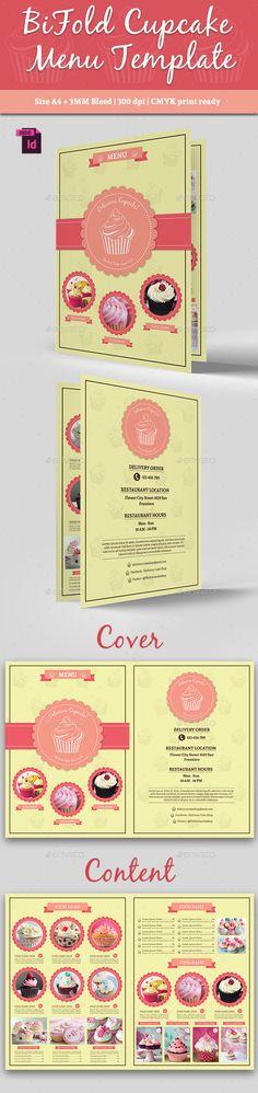 BiFold Cupcake Menu Template #design Buy Now: http://graphicriver.net/item/bifold-cupcake-menu-template-vol-2/12818386?ref=ksioks