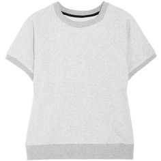 Rag & bone Rocky cotton-blend jersey sweatshirt ($91) ❤ liked on Polyvore featuring tops, hoodies, sweatshirts, light gray, sweatshirts hoodies, oversized sweat shirts, oversized tops, oversized sweatshirt and loose fitting crop tops