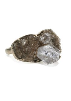 "Monique Pean's 18k recyecled white gold size 7 ring featuring a .40ctw rough quartz ""Herkimer diamond"""