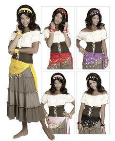 Zigeunerin Gipsy Set 4 teilig 5 Farben Fasching Zubehör Zigeuner Kostüm Karneval