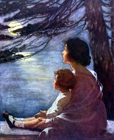 """""""Moonbeams"""", by American artist and illustrator - Jessie Wilcox Smith Art And Illustration, Book Illustrations, Jessie Willcox Smith, Pintura Exterior, Foto Art, Pics Art, Nocturne, Mother And Child, Oeuvre D'art"""
