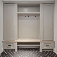 Grey Mudroom Cabinet. Grey Mudroom Cabinet and herringbone tile. Grey Mudroom…