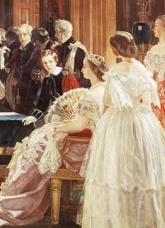 Empress Eugénie of France attending the investiture of her husband Napoleon III with the Order of the Garter 18 April 1855 Portrait by Edward Matthew Ward 181679 Victorian Paintings, Victorian Art, French History, Art History, Thurn Und Taxis, Otto Von Bismarck, Order Of The Garter, French Royalty, Second Empire