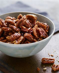 """Sweet, Spicy, Salty Candied Pecans (AKA """"Crack Nuts"""") TESTED & PERFECTED RECIPE – Wildly addictive, these candied pecans are perfect to serve with cocktails or toss over salads. They take just 15 min. Pecan Recipes, Cooking Recipes, Candy Recipes, Cooking Ideas, Fall Recipes, Beef Recipes, Food Ideas, Avocado, Appetizer Recipes"""