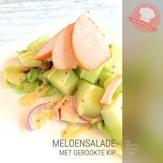 Meloensalade met gerookte kip