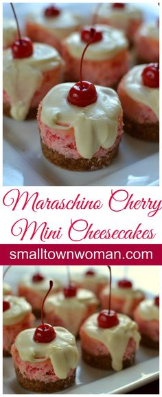 Beautiful mini maraschino cherry cheesecakes topped with white chocolate and a cherry. These are perfect for your holiday party, neighborhood soiree, or friendly shindig. by jill Mini Desserts, Just Desserts, Dessert Recipes, Diabetic Desserts, Lemon Desserts, Cherry Topping For Cheesecake, Mini Cheesecake Recipes, Raspberry Cheesecake, Oreo Cheesecake