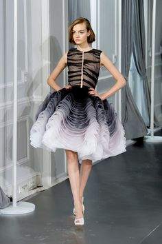 Black and white short ruffled dress - Christian Dior Spring 2012 Couture