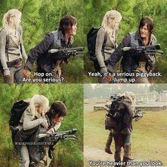 """Daryl and Beth - """"a serious piggyback. This part was funny!The Walking Dead. Daryl and Beth - """"a serious piggyback. This part was funny! Walking Dead Funny, Walking Dead Quotes, Fear The Walking Dead, Daryl Beth, Twd Memes, Memes Humor, Beth Greene, Z Nation, Dead Inside"""