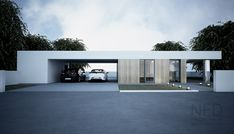 40 Simple Garage Design Ideas For Your Minimalist Home - It is mandatory to opt for durable, high-quality material. Minimalist Window, Minimalist Home, Minimalist Architecture, Interior Architecture, Computer Architecture, Garage Design, Exterior Design, Flat Roof House, Modern Villa Design