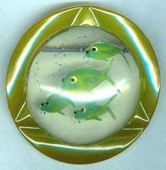 Vintage Reverse Carved Painted Fish Lucite & Green Bakelite Brooch Pin