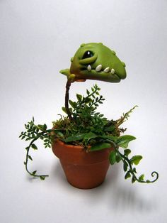 OOAK Snappy the Snapper A monster plant doll by Amber Matthies. $75.00, via Etsy.