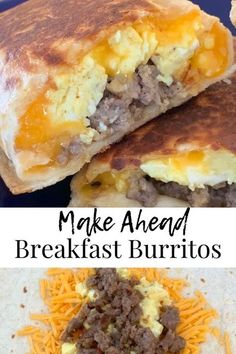 Breakfast Burritos - the perfect, make-ahead, savory breakfast! Sausage, eggs, and cheese wrapped in a tortilla and grilled to perfection. These burritos are the perfect start to any day and can be frozen for a quick, grab-and-go breakfast any day of the week! #georgiagirlkitchen #breakfastburritos #breakfast #sausageeggandcheese #makeaheadbreakfast #makeaheadmeals