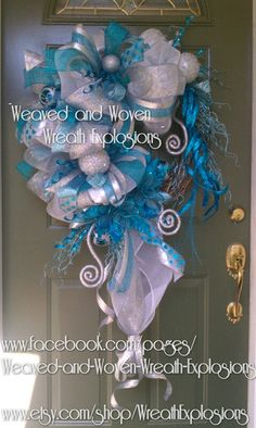 Blue White and Silver Christmas Wreath by WreathExplosions on Etsy, $105.00