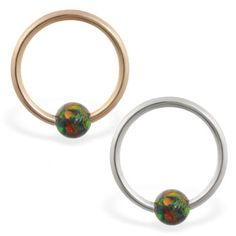 solid yellow gold captive bead ring with rainbow opal ball, Helix Piercing Jewelry, Helix Piercings, Rainbow Opal, Opal Color, Beaded Rings, Body Jewelry, Solid Gold, Body Art, Gems