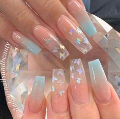 Acrylic Nails Glitter Ombre, Acrylic Nails Coffin Pink, Long Square Acrylic Nails, Blue Ombre Nails, Coffin Nails, Pastel Nails, Acrylic Nails For Summer, Blue Nail, Glitter Acrylics