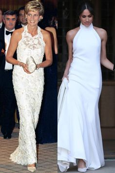 Markle drew comparisons to Lady Di and a dress she wore in the mid '90s to a gala in Washington D.C. Diana often gravitated towards evening wear that showed off her arms and fabulous figure, whether it was a halter neck, one-shoulder or strapless gown.
