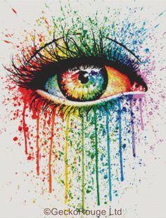 0 point de croix moderne oeil multicolore - modern cross stitch colourful eye