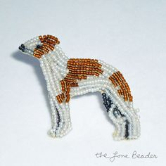 Beaded ITALIAN GREYHOUND brown & white dog pin/ by thelonebeader, $95.00