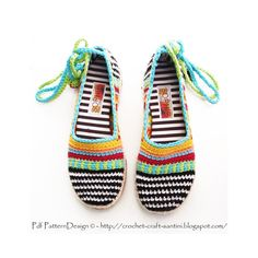 TOMS / ESPADRILLES.  2in1-PACKAGE for Happy Scrap Crochet-Slippers, incl Handmade, Tailored CORD-Soles with Treatment. Patterns by PdfPatternDesign, €8.00