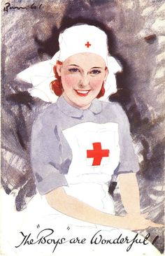 A British Red Cross nurse portrayed as a companion to the soldiers, ca. Pictures of Nursing: The Zwerdling Postcard Collection. National Library of Medicine