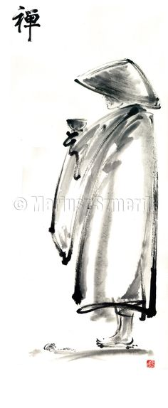 Sumi-e Painting - Buddhist Monk With A Bowl Zen Calligraphy Original Ink Painting Artwork by Mariusz Szmerdt Buddhist Monk, Buddhist Art, Sumi E Painting, Watercolor Paintings, Spray Painting, Watercolour, Japanese Painting, Chinese Painting, Pintura Zen