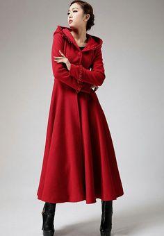 Red Riding Hood Burgundy Color Coatw ith Hood Ultra Long Wool Coat ...